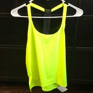 Neon yellow Fabletics Tansy Tank new with tags